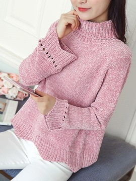Ericdress Hollow Turtleneck Loose Sweater