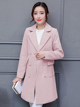 Ericdress Notched Lapel Double-Breasted Coat