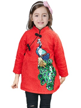 Ericdress Embroidery Mandarin Collar Chinoiserie Girl's A-Line Dress