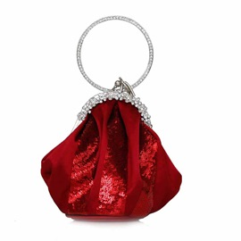 Ericdress Circular Ring Rhinestone Satin Women Clutch