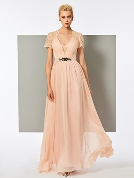 Ericdress A-Line Lace V-Neck Short Sleeves Evening Dress