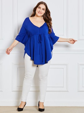 Ericdress Plain Plus-Size V-Neck Mid-Length Tunic Blouse