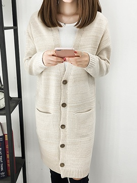 Ericdress Plain V-Neck Mid-Length Cardigan Knitwear