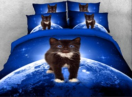 Vivilinen 3D Black Kitten on Planet Printed 4-Piece Bedding Sets/Duvet Covers