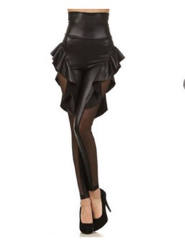 High-Tail Mesh Falbala Patchwork Damen Leggings