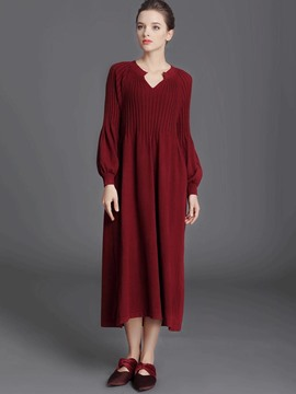 Ericdress Lantern Sleeve Trumpet Ankle-Length Sweater Dress