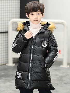 Ericdress Letter Print Zipper Mid-Length Boy's Hooded Down Jacket
