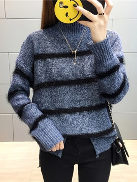 Ericdress Loose Stripe Turtleneck Sweater