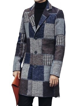 Ericdress Color Block Single-Breasted Men's Woolen Coat