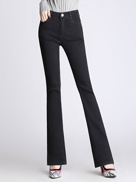 Ericdress Slim Denim Mid-Waist Women's Bellbottoms