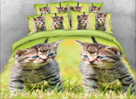 vivilinen 3d kittens on the grass ensembles de literie / housses de couette imprimés