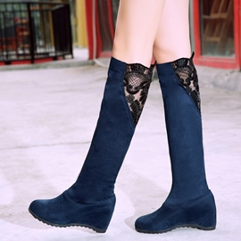 Ericdress Lace Slip-On Patchwork Women's Knee High Boots