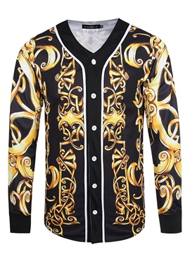 Ericdress V-Neck Long Sleeve Vintage Print Men's Jacket