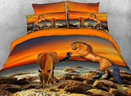 Vivilinen Brown Horse by the Sea 4-Piece 3D Bedding Sets/Duvet Covers