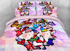 Vivilinen 3D Colorful Flag Butterflies Printed 4-Piece Bedding Sets/Duvet Covers