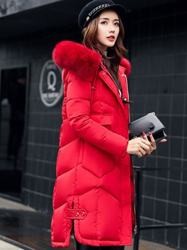 Ericdress Long Plain Zipper Hooded Coat