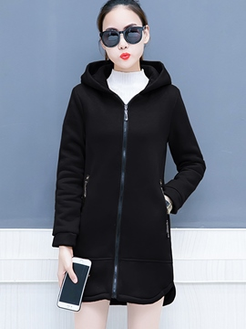 Ericdress Plain Mid-Length Hooded Sweatshirt