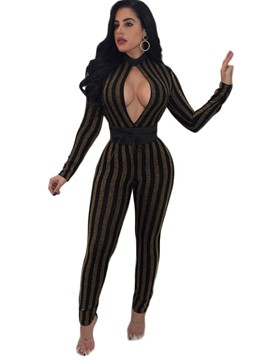 Ericdress Gold Print Skinny Stripe Women's Jumpsuit