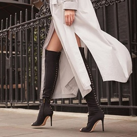 Ericdress Lycra Rivet Peep Toe Stiletto Heel Knee High Boots