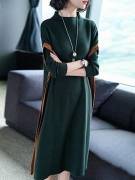 Ericdress High-Neck Long Sleeve Straight Sweater Dress