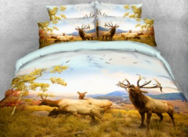 Vivilinen Elk Family On the Autumn Grassland Printed 3D 4-Piece Bedding Sets/Duvet Covers