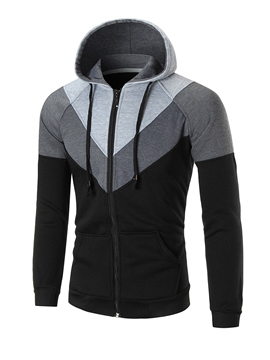 Ericdress Hooded Color Block Zipper Men's Hoodie