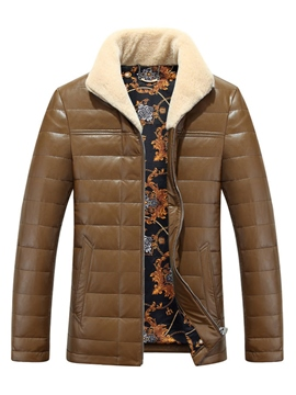 Ericdress Plain PU Leather Thicken Warm Men's Winter Coat
