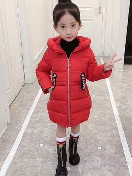 Ericdress Letter & Cartoon Print Zipper Hooded Girl's Down Jacket