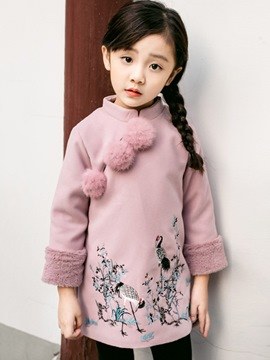 Ericdress Mandarin Collar Zipper Chinoiserie Girl's A-Line Dress
