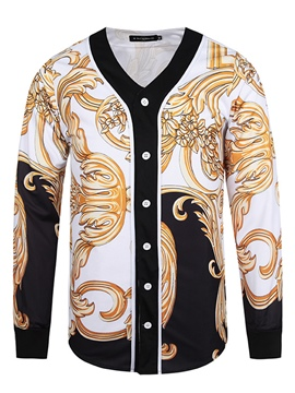 Ericdress V-Neck Print Long Sleeve Men's Coat