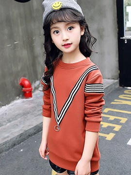 Ericdress Stripe Round Neck Mid-Length Thick Girl's Sweater