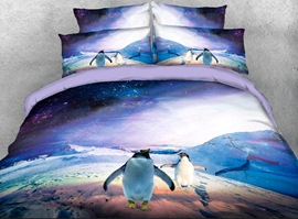 Vivilinen Penguins and Galaxy Printed 4-Piece 3D Bedding Sets/Duvet Covers