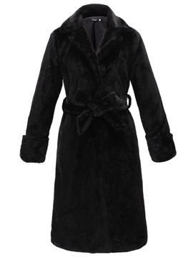 Ericdress Plain Belt Thick Long Coat