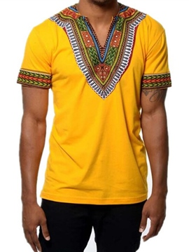 Ericdress V-Neck African Print Short Men's T-Shirt