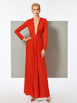 Ericdress Sheath Long Sleeve Deep Neck Pleats Long Evening Dress