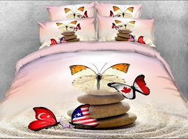 Vivilinen 3D Flag Butterflies and Cobblestone Printed 4-Piece Bedding Sets/Duvet Covers