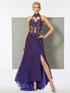 Ericdress Sheath Halter Floor-Length Evening Dress With Applique And Beadings
