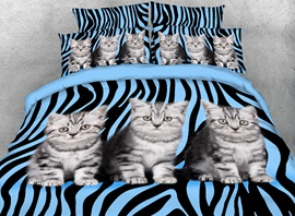 Vivilinen 3D Kittens and Zebra Pattern Printed 4-Piece Bedding Sets/Duvet Covers