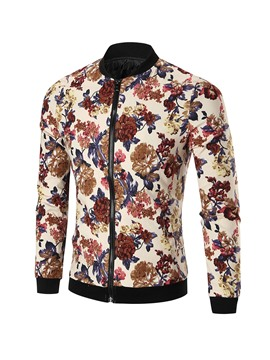 Ericdress Floral Print Stand Collar Men's Slim Fit Jacket
