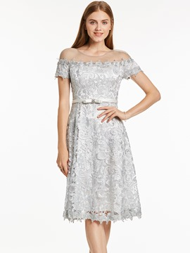 Ericdress Scoop Neck Lace A Line Short Cocktail Dress
