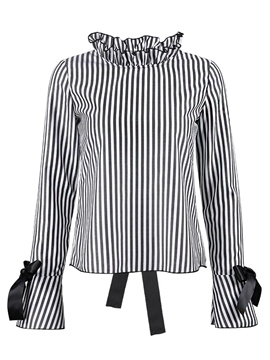Ericdress Stand Collar Stripe Flare Sleeve Blouse