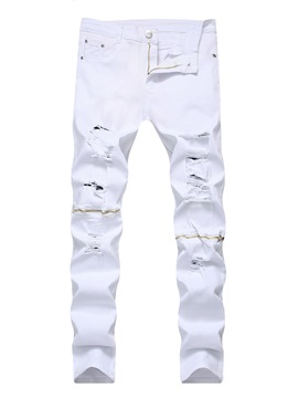 Ericdress White Slim Hole Men's Pencil Pants