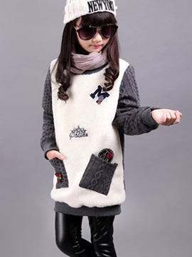 Ericdress Color Block Letter Print Patchwork Girl's Sweater