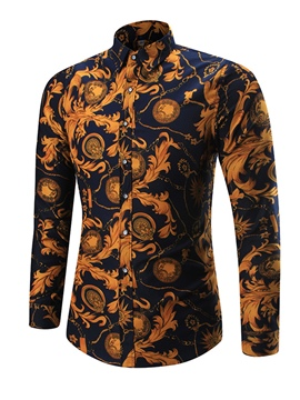 ericdress bloque de color de la solapa slim fit camisa de los hombres