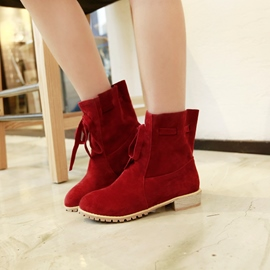Ericdress Plain Lace-Up Women's Ankle Boots