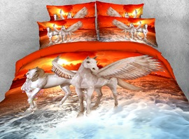 Vivilinen 3D White Horse Crossing the River Printed 4-Piece Bedding Sets/Duvet Covers