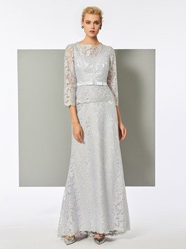 Ericdress Sheath 3./4 Sleeve Floor Length Lace Evening Dress