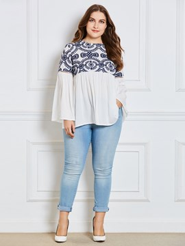 Ericdress Pleated Lace Flare Sleeve T-shirt