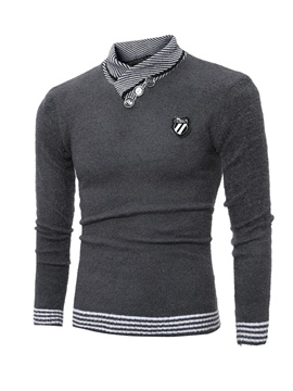 Ericdress Plain Stand Collar Slim Men's Pullover Sweater