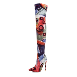 Ericdress Color Block Slip-On Pointed Toe Thigh High Boots